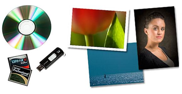 Lämna in bilder på CD, minneskort, USB-minne eller eposta